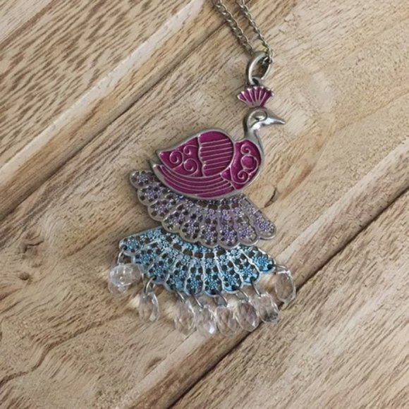 Jewelry - Long Peacock Necklace in Pink, Blue, and Purple